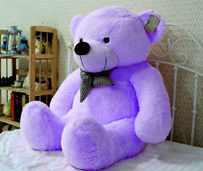 "39"" Giant Huge Teddy Bear Purple Stuffed Plush Soft Animal Toy Doll Kids Gift US"