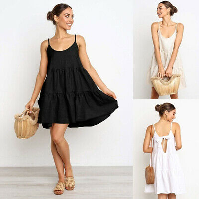 Women Trendy Sexy Suspenders Sling Backless Bow Casual Beach Holiday Dress Z