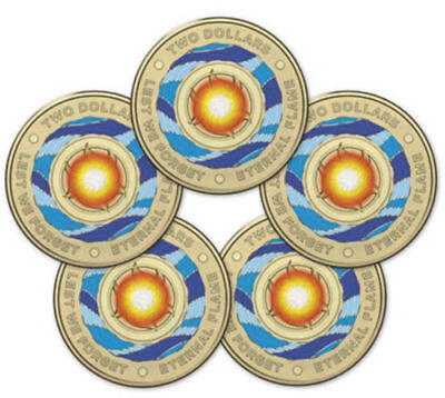2018 $2 ANZAC Eternal Flame RAM Sachet / bag 5 x $2 Coins