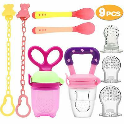 2 PCs Pacifier Clips 2PCs Baby Feeding Spoons 3 PCs Replacement Silicone Pouches