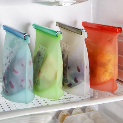4PCS Kitchen Fresh Bags Reusable Silicone Food Freezer Storage Versatile Ziplock