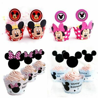 Minnie Mouse Paper Cupcake Wrappers & Toppers For Kids Birthday Party 24Pcs Cake