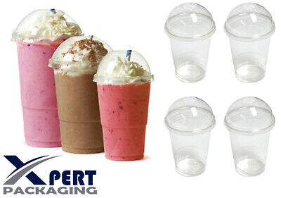 50x Disposable 350ml Plastic Smoothie Cups With Domed Lids Milkshake Sweetie Cup