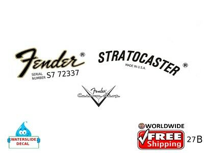 Fender Stratocaster Guitar Decal Headstock Inlay Decal Restoration Logo 27b