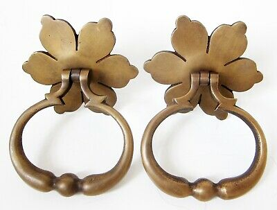 set of 2 LARGE SOLID BRASS DOOR KNOCKERS, flower with ring shape, 630g pair new