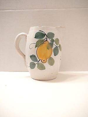 Vintage Majolica Italian Pitcher  Rustic Country Art Pottery Ice Lip Italy1970s