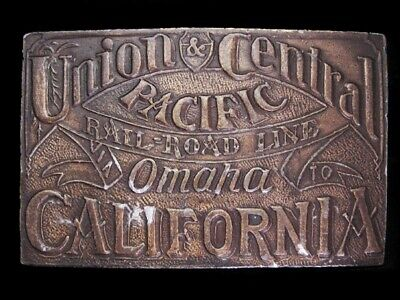 LI03158 VINTAGE 1970s **UNION & CENTRAL PACIFIC RAILROAD LINE** BELT BUCKLE