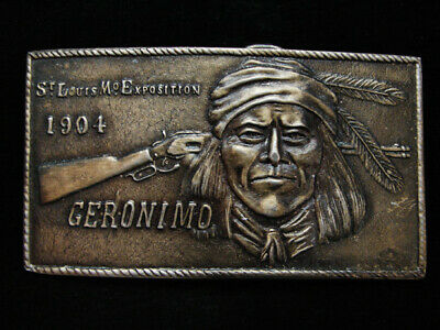 NG29133 VINTAGE 1970s **GERONIMO ST. LOUIS MO. EXPOSITION 1904** BELT BUCKLE