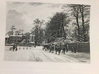 AR QUINTON ORIGINAL LITHOGRAPH Hampstead Heath Spaniards Rd Erskine House 1912