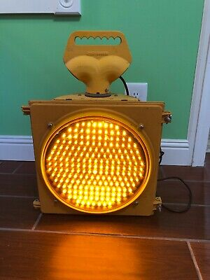 "Retired Traffic Signal Light single head LED  Bulb 12"" Yellow Light Vintage cave"