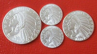 4 Incuse 1929 $5 Indian Design .999 Fine Silver Rounds by Golden State Mint