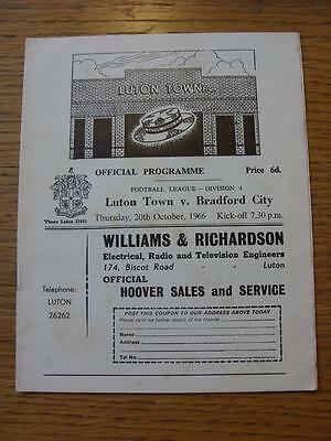 20/10/1966 Luton Town v Bradford City  (Light Crease, Faint Foxing)