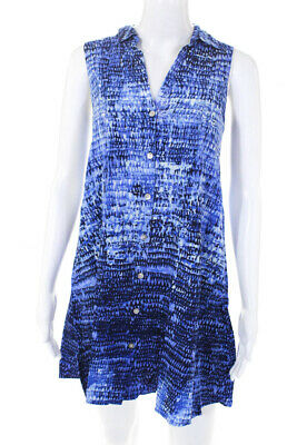 71a678aacc Beach Lunch Lounge Womens Button Down Sleeveless Dress Blue Size Extra Small