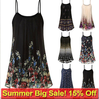 Boho Womens Ladies Cami Vest Swing Camisole Sleeveless Tank Tops Dress Plus Size