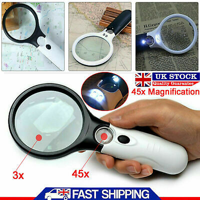Handheld 45X Magnifier Reading Magnifying Glass Jewelry Loupe With 3LED Light UK