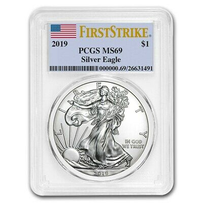 1 oz American American Silber Eagle 2019 PCGS First-Strike MS69 999 Silber