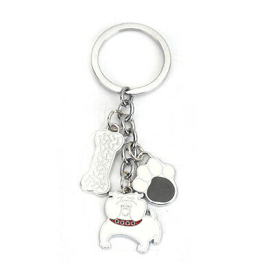 Dog Keyring with Enamel Charms, Dog, Bone and Paw..Very unusual and great gift