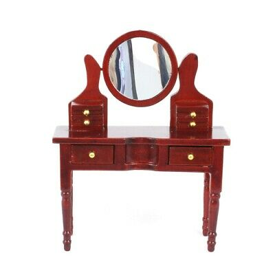Dolls House Furniture: Wooden Dressing Table in mahogany finish :12th scale