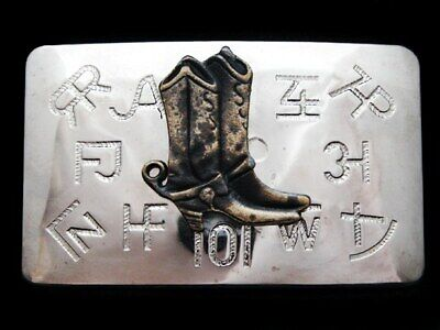 KD23130 VINTAGE 1970s CHAMBERS WESTERN STYLE **COWBOY BOOTS** BELT BUCKLE