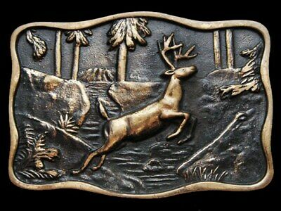 KD29101 VINTAGE 1970s BTS **DEER JUMPING OVER CREEK** SOLID BRASS BELT BUCKLE