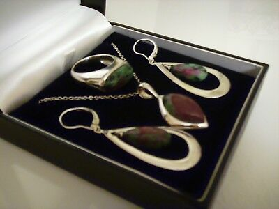 Sterling Silver Set Necklace, Earrings & Ring Size O 1/2 Very Good Condition