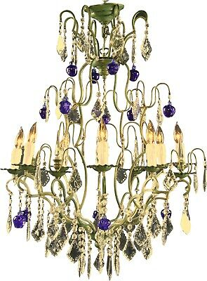 New Italian Cut Glass Maria Theresa Style 12 Arm Chandelier  Murano Blue