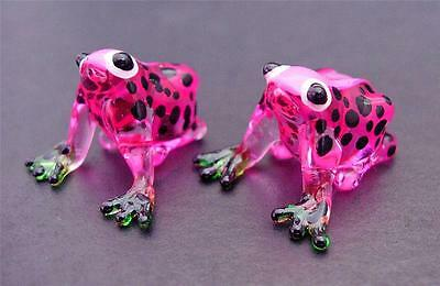 2 Tiny Glass FROGS Pink & Black Spotted Glass Ornaments Animals Glass Figures