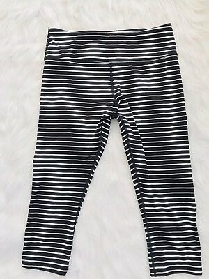a0cc385bed Scorpio Sol Womens Black & White Striped Crop Yoga Pants Leggings Size Small