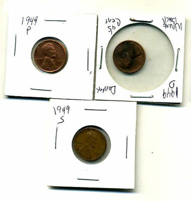 1949 P,d,s Wheat Pennies Lincoln Cents Circulated 2X2 Flips 3 Coin Pds Set#168