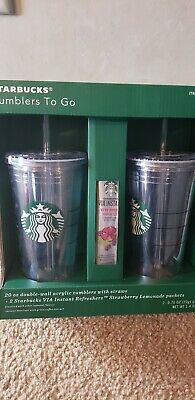 Starbucks Tumblers To Go 20 oz. Acrylic Double-Wall Cold Cup 2 Pack w/ Straws