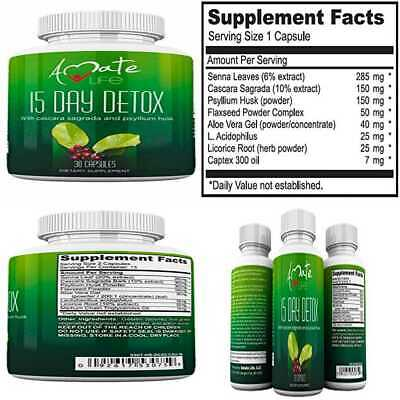 15 Day Colon Cleanse Detox Pills Best For Weight Loss Herbal Laxative Constipa
