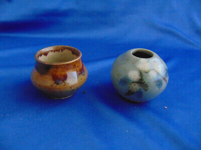 "2 Miniature pottery pots hand crafted painted glazed 1 3/4"" art signed clay vase"