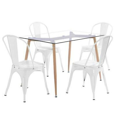 4pcs Tolix Style Dining Side Chair Arm Chairs Stackable Bistro Metal Stool White