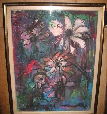 Mid Century Modern Mixed Media Painting by Lillian Kiesler in Max Granick Frame