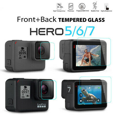 Lens Protector+Screen Protector Tempered Glass Film for GoPro Hero 7 6 5 Camera