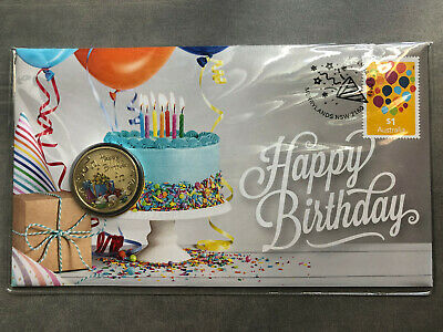 New Mint Uncirculated Happy Birthday 2019 Australian $1 Coin & Stamp Set PNC