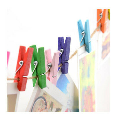 50Pcs/Set Colorful Wooden Pegs Note Memo Photo Clip Holder Craft Decor BS