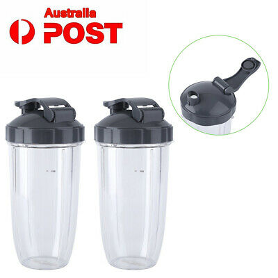 2Pcs Nutribullet Pro 600/900w Huge Tall Colossal Mug Cup + 2x Flip Top AU