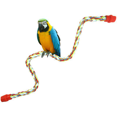 Colorful Birds Perch Toy Parrot Cotton Rope Chewing Bars Cage Stand Spiral Parts