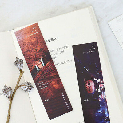 30Pcs/box Retro Neon City Paper Bookmark Message Card School Stationery LG