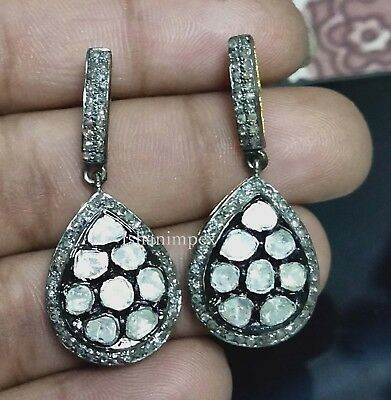 Fine Jewelry Victorian Earrings Natural Rose Cut Diamond Polki 18k Gold 925 Sterling Silver Jewelry & Watches