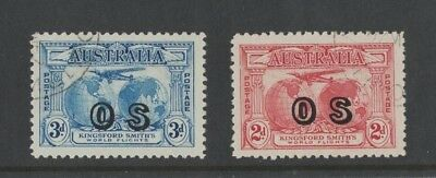 1931 Australia SG O123/4 Kingsford Smith OS overprint fine used set