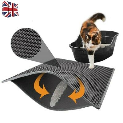 Foldable Double-Layer Cat Litter Mat Waterproof Pad Pet Rug Eva Foam Trapper-UK