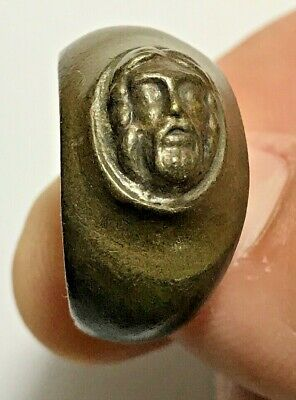 ANCIENT GREEK BRONZE RING WITH HEAD OF ZEUS VERY RARE 14.8gr 25mm (inner 21mm)