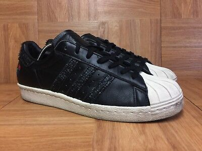 9f2e0ca46903 RARE🔥 Adidas Superstar 80 s CNY Chinese New Year Black Leather Rooster Sz  8 Men