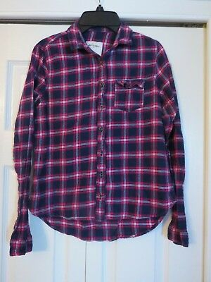 145312685d9 Girls ABERCROMBIE   FITCH Navy Blue Pink Plaid Flannel Shirt Top Size XL 12