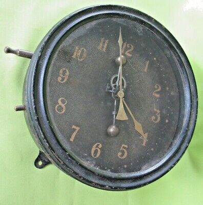 Rare unusual old antique metal cased clock possibly maritime or military naval