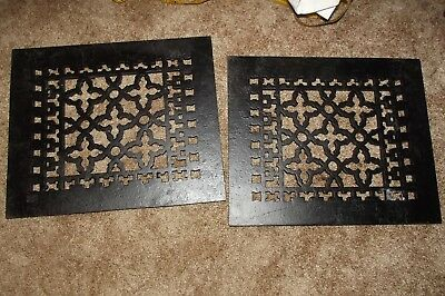 2 Antique TYPE Cast Iron Wall Floor Heating Vent Grate Registers, Acorn Mfg. Co.