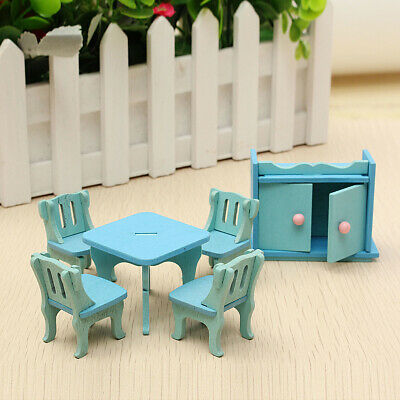 Wooden Dollhouse Furniture Doll House Miniature Dinning Room Set Kids Role Play