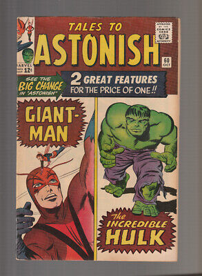 Tales to Astonish # 60  First Hulk Double Feature ! grade 7.5 scarce book !